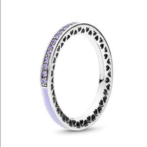 New Radiant Hearts of Pandora lavender purple ring